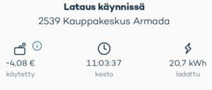 Veijo Pruuki Lappeenranta auton lataus ladattu määrä